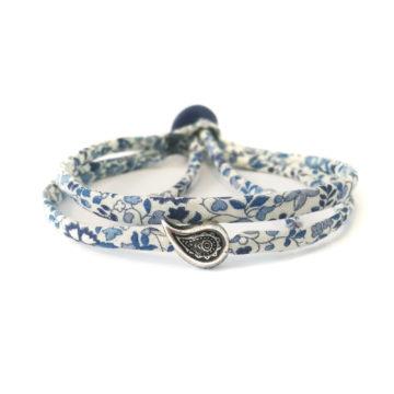 Bracciale London in cotone bianco, azzurro, blu